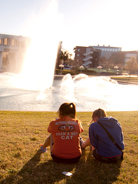 Students by Reflecting Pond